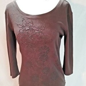 Style & Co Petite Brown Beaded Cotton Top
